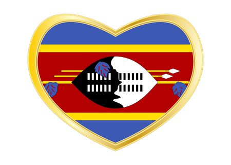 Swazi national official flag. African patriotic symbol, banner, element, background. Correct colors. Flag of Swaziland in heart shape isolated on white background. Golden frame. Vector Illustration