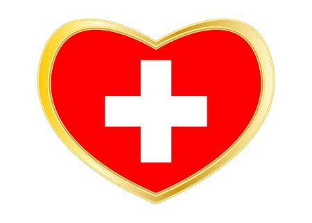 Swiss national official flag. African patriotic symbol, banner, element, background. Correct colors. Flag of Switzerland in heart shape isolated on white background. Golden frame. Vector