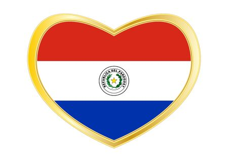 Paraguayan national official flag. Patriotic symbol, banner, element, background. Correct colors. Flag of Paraguay in heart shape isolated on white background. Golden frame. Vector Ilustrace