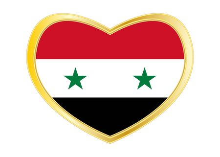Syrian national official flag. Patriotic symbol, banner, element, background. Correct colors. Flag of Syria in heart shape isolated on white background. Golden frame. Vector