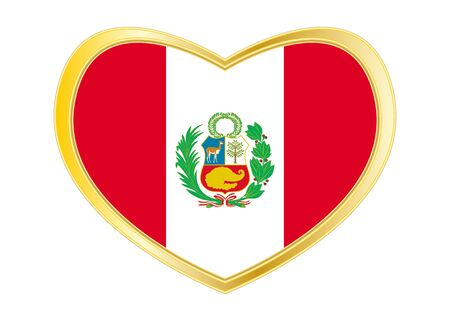 Peruvian national official flag. Patriotic symbol, banner, element, background. Correct colors. Flag of Peru in heart shape isolated on white background. Golden frame. Vector
