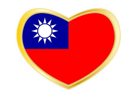 Taiwan national official flag. Patriotic ROC symbol, banner, element, background. Correct colors. Flag of the Republic of China in heart shape isolated on white background. Golden frame. Vector