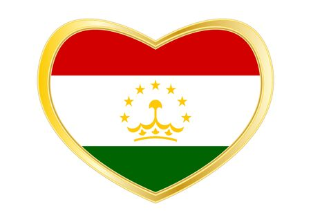 Tajikistani national official flag. Patriotic symbol, banner, element, background. Correct colors. Flag of Tajikistan in heart shape isolated on white background. Golden frame. Vector Ilustrace