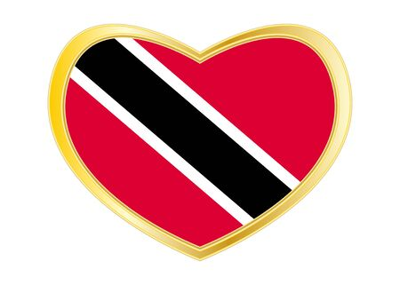 Trinidadian and Tobagonian national official flag. Patriotic symbol, banner, element. Correct colors. Flag of Trinidad and Tobago in heart shape isolated on white background. Golden frame. Vector