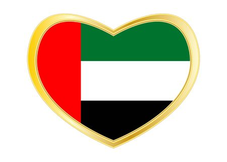 UAE national official flag. Patriotic symbol, banner, element, background. Correct colors. Flag of the United Arab Emirates in heart shape isolated on white background. Golden frame. Vector