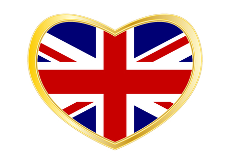 British national official flag. Patriotic UK symbol. Union Jack. Great Britain banner, element. Flag of the United Kingdom in heart shape isolated on white background. Golden frame. Vector