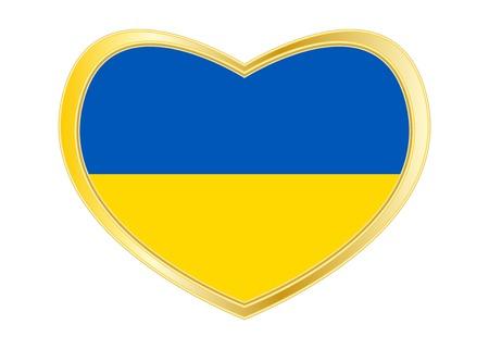 Ukrainian national official flag. Patriotic symbol, banner, element, background. Correct colors. Flag of Ukraine in heart shape isolated on white background. Golden frame. Vector Ilustrace