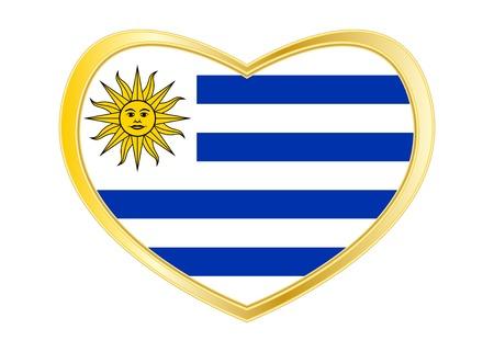 Bandiera ufficiale nazionale uruguaiana. Simbolo patriottico, banner, elemento, sfondo. Colori corretti Bandiera dell'Uruguay a forma di cuore isolato su sfondo bianco. Cornice dorata Vettore Vettoriali