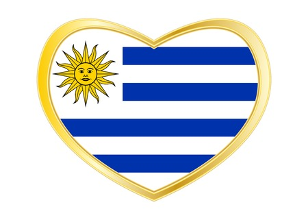 Uruguayan national official flag. Patriotic symbol, banner, element, background. Correct colors. Flag of Uruguay in heart shape isolated on white background. Golden frame. Vector