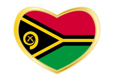 Vanuatuan national official flag. Patriotic symbol, banner, element, background. Correct colors. Flag of Vanuatu in heart shape isolated on white background. Golden frame. Vector