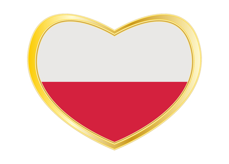 Polish national official flag. Patriotic symbol, banner, element, background. Correct colors. Flag of Poland in heart shape isolated on white background. Golden frame. Vector Ilustrace