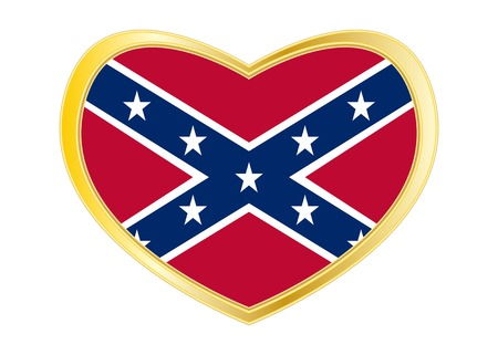 Historical national flag of the Confederate States of America. Known as Rebel, Dixie flag. Patriotic symbol, banner. Flag of the CSA in heart shape isolated on white background. Golden frame. Vector