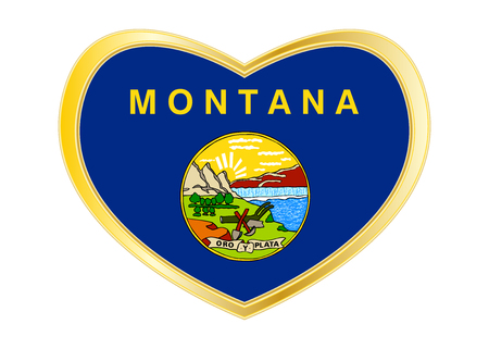 Flag of the US state of Montana. American patriotic element. USA banner. United States of America symbol. Montanan official flag in heart shape isolated on white background. Golden frame. Vector