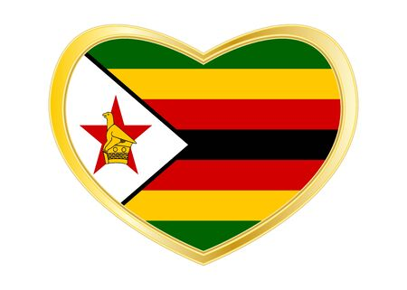 Zimbabwean national official flag. African patriotic symbol, banner, element, background. Correct colors. Flag of Zimbabwe in heart shape isolated on white background. Golden frame. Vector