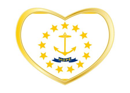 shiny buttons: Flag of the US state of Rhode Island. American patriotic element. USA banner United States of America symbol. Rhode Islander official flag in heart shape isolated on white background Gold frame Vector