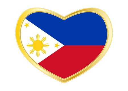 Philippine national official flag. Patriotic symbol, banner, element, background. Correct colors. Flag of the Philippines in heart shape isolated on white background. Golden frame. Vector