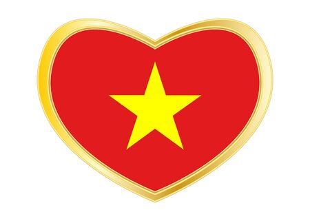 Vietnamese national official flag. Patriotic symbol, banner, element, background. Correct colors. Flag of Vietnam in heart shape isolated on white background. Golden frame. Vector