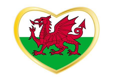 Bandiera ufficiale nazionale gallese. Simbolo patriottico, banner, elemento, sfondo. Colori corretti Bandiera del Galles a forma di cuore isolato su sfondo bianco. Cornice dorata Vettore Vettoriali