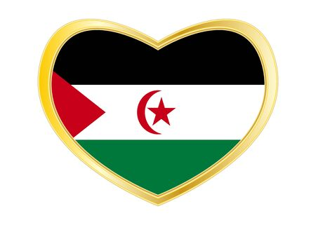 Sahrawi national official flag. Western Sahara patriotic symbol. SADR banner. Correct colors. Flag of Sahrawi Arab Democratic Republic in heart shape isolated on white background. Golden frame. Vector Ilustrace