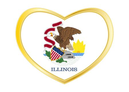 shiny buttons: Flag of the US state of Illinois. American patriotic element. USA banner. United States of America symbol. Illinoisan official flag in heart shape isolated on white background. Golden frame. Vector
