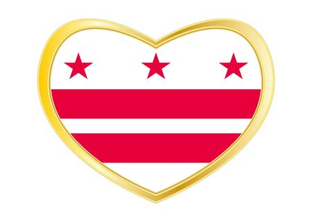 Flag of the District of Columbia. American patriotic element. USA banner. United States of America symbol. Washington, D.C. official flag in heart shape isolated on white background. Gold frame Vector Ilustrace