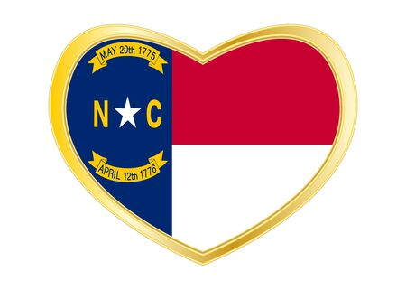 Flag of the US state of North Carolina. American patriotic element. USA banner. United States of America symbol. North Carolinian flag in heart shape isolated on white background. Golden frame. Vector