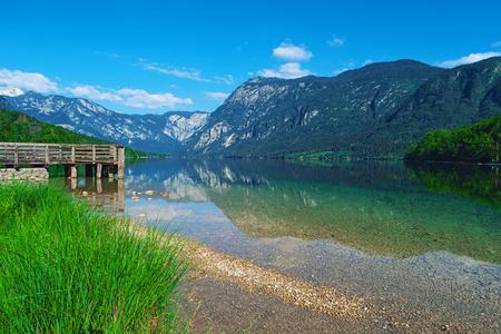 Bohinj Lake, Triglav national park, Slovenia, Alps, Europe. Mountain alpine lake. Slovenian nature. Adventure ecotourism concept Summer landscape Popular landmark Famous travel destination of Slovenia Reklamní fotografie