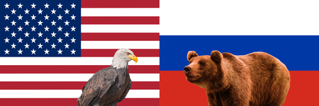 Concept of relations USA and Russia. American and Russian flags. Bald Eagle, brown bear. Relationship, conflict, confrontation between USA and Russia. American and russian partnership, collaboration