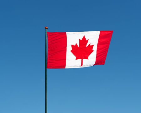 Canadian national official flag on blue sky background. Symbol of Canada. Patriotic canadian banner, design. Flag of Canada on flagpole waving in the wind