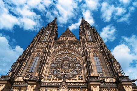 Saint Vitus Cathedral facade, Prague Castle, Czech Republic. Details of gothic historic european architecture. Metropolitan Cathedral of St. Vitus in Prague. Popular landmark Famous travel destination