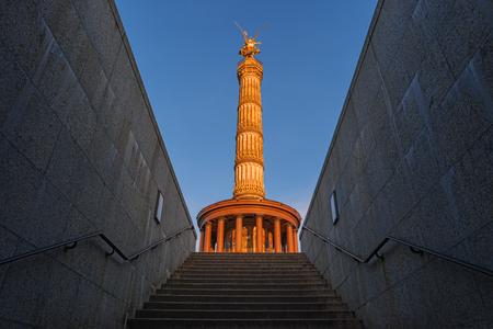 Victory Column, Goldelse, Berlin, Germany, Europe. Siegessaule monument, golden angel in Tiergarten park. Siegessaeule, Golden Lizzy. Popular landmark, famous travel destination of Berlin, Germany