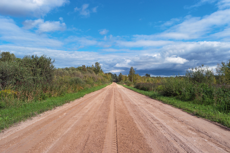 Scenic gravel road in forest. Rural country road. Adventure ecological tourism concept. Beautiful nature. Green trees, grass and blue cloudy sky. Long way home. Summer landscape. Natural scenery
