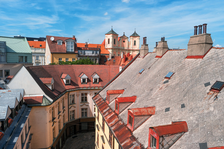 View on old town in Bratislava city, Slovakia, Europe. Historic architecture. Cityscape and skyline of Bratislava, capital city of Slovakia. City centre. Popular landmark, famous travel destination Stock Photo