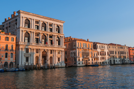 Grand Canal, old buildings, Venice, Italy, Europe. Water street, historic houses. Traditional italian tenements on channel in Venice. Famous travel destination, landmark. Romantic venetian landscape 에디토리얼