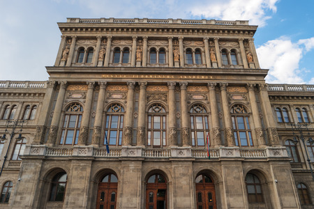 Hungarian Academy of Sciences, Budapest, Hungary. Historic building. Most important and prestigious learned society of Hungary. MTA Education Academy Society Building at Bank of Danube River, Budapest