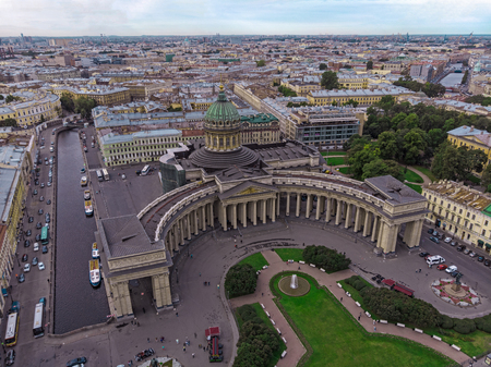 Aerial view of Saint Petersburg city Kazan Cathedral, Russia. Kazanskiy Cathedral, Nevsky Prospect, Saint-Petersburg city. Cityscape of St. Petersburg. Russian touristic concept of tourism, travelling 스톡 콘텐츠