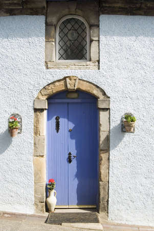 vertica: a vertical image of a blue door against a white building with flowerpots Stock Photo