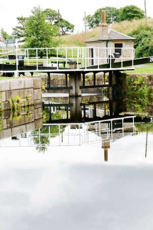 canal lock: a vertical image of a canal lock Stock Photo