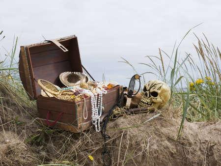 loot: pirate treasure chest on beach