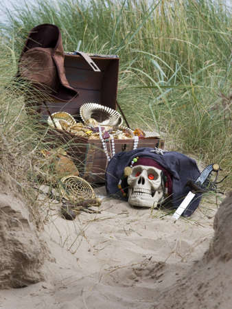 pirate treasure chest on beach photo