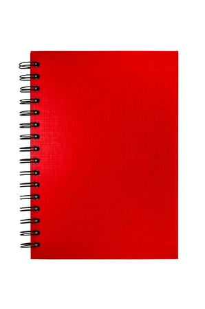 isolated red notebook on white background photo