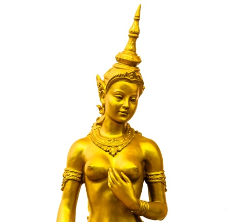 Native Thai style angel statue on white background photo