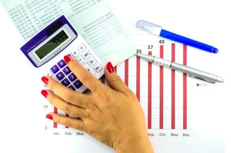 Account passbook and bar graph data with calculator and ballpoint pen and correction pen photo