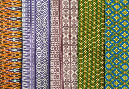 thai motifs: colorful and motifs batik cloth fabric in thai style Stock Photo