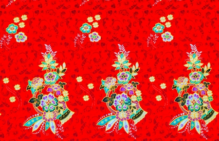 Colorful batik cloth fabric background of thai style photo