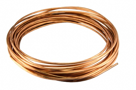 Copper Tubing isolate on white background photo
