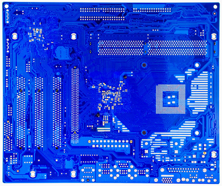 Close up blue circuit board of computer photo