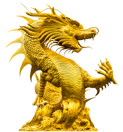 Golden dragon statue at isolated on white background Banco de Imagens