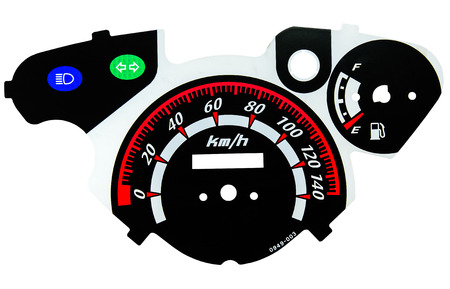 motorcycle tachometer isolated on white background photo