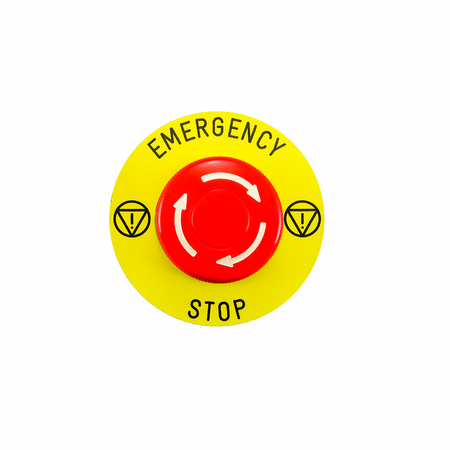 Red emergency button switch isolated on white background photo